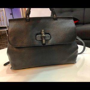 Authentic Gucci Pebbled Calfskin Large Black Bag.